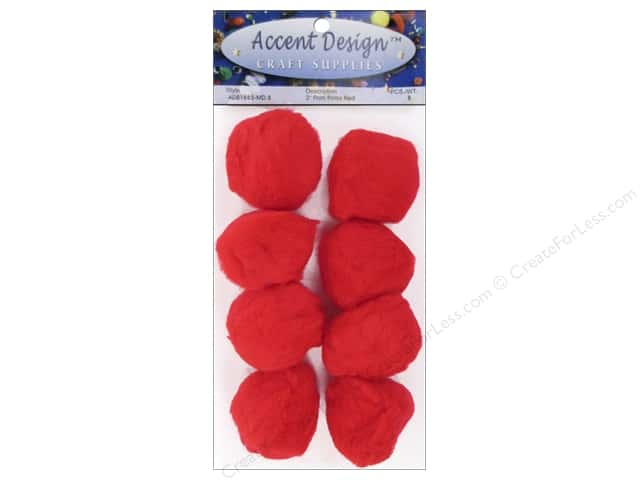 Pom Pom by Accent Design 2 in. Red 8 pc.