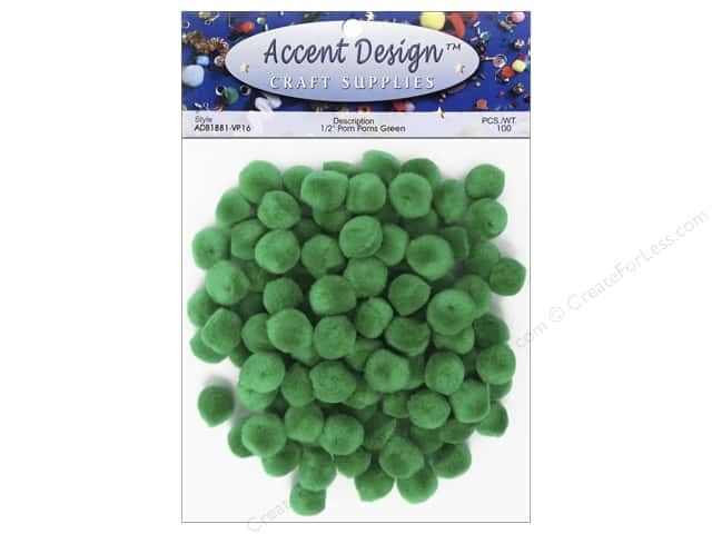 PA Essentials Pom Poms 1/2 in. Green 100 pc.