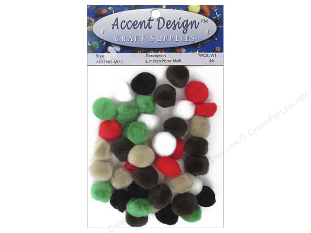 PA Essentials Pom Poms 3/4 in. Multi 45 pc.