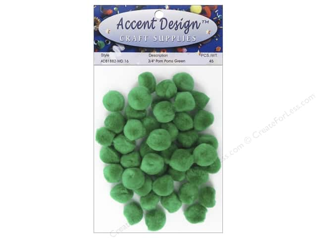 PA Essentials Pom Poms 3/4 in. Green 45 pc.