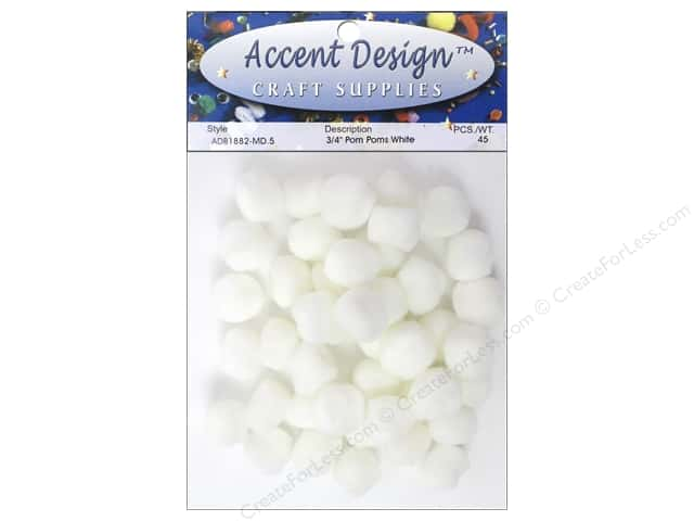 PA Essentials Pom Poms 3/4 in. White 45 pc.