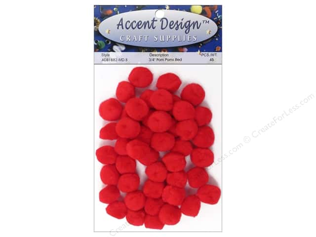 PA Essentials Pom Poms 3/4 in. Red 45 pc.