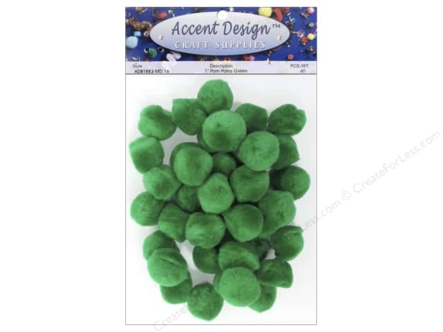 PA Essentials Pom Poms 1 in. Green 40 pc.