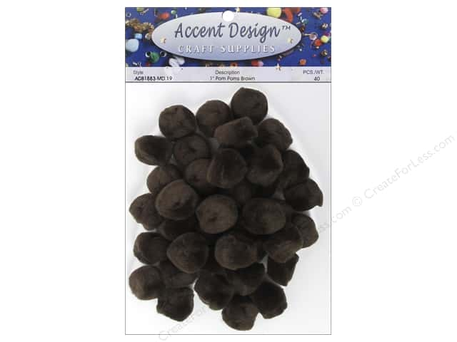 Pom Pom by Accent Design 1 in. Brown 40 pc.
