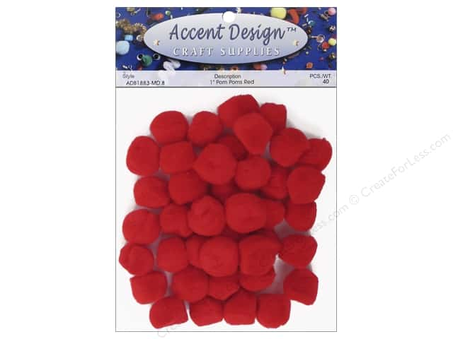 PA Essentials Pom Poms 1 in. Red 40 pc.