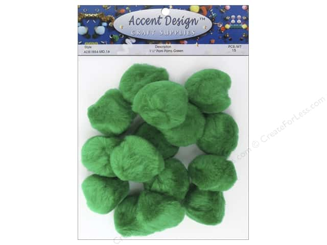 PA Essentials Pom Poms 1 1/2 in. Green 15 pc.