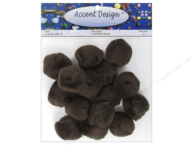 Pom Pom by Accent Design 1 1/2 in. Brown 15 pc.
