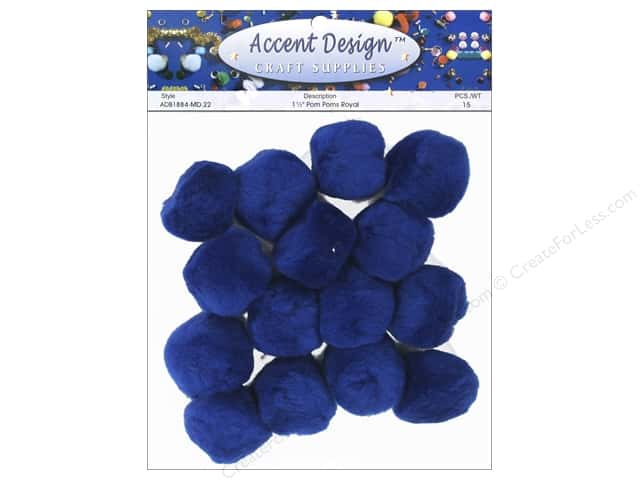 Pom Pom by Accent Design 1 1/2 in. Royal 15 pc.