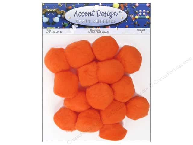 PA Essentials Pom Poms 1 1/2 in. Orange 15 pc.
