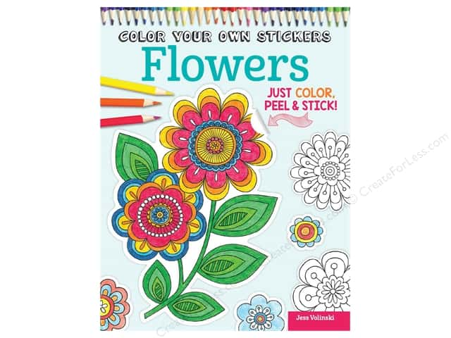 Design Originals Color Your Own Stickers Flowers Coloring Book