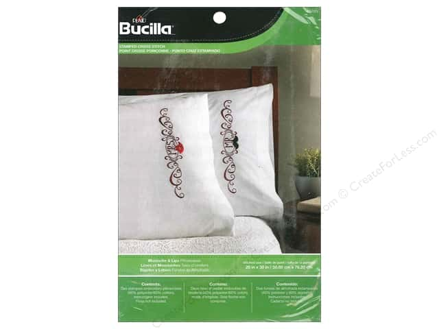 Bucilla Stamped Cross Stitch Pillowcase Mustache & Lips