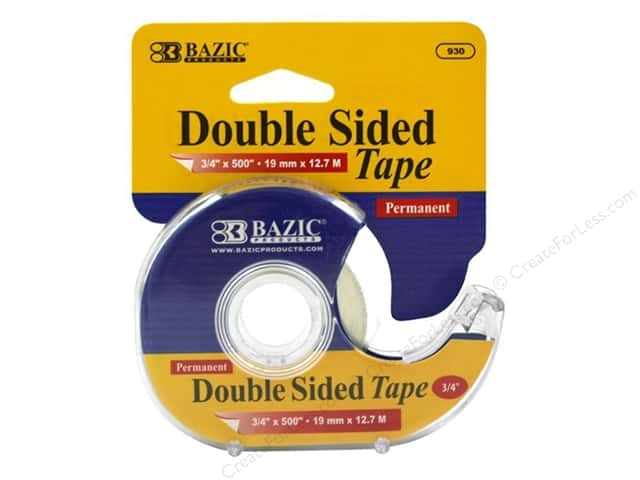 "Bazic Basics Tape Double Sided Permanent With Dispenser 3/4""x 500"""