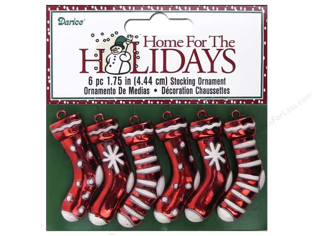 Darice Ornaments 1 3/4 in. Holiday Stocking 6 pc. Red