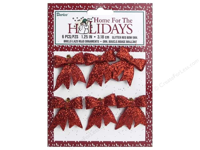 Darice Ornament 1 1/4 in. Holiday Bow 6 pc. Glitter Red