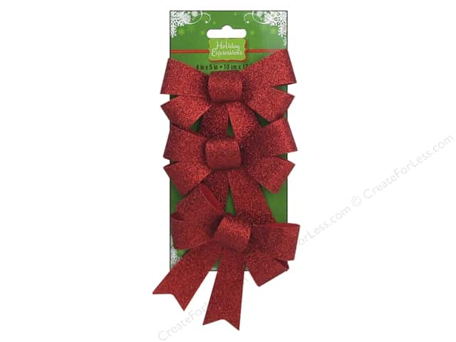 Darice Holiday Bows 4 x 5 in. Glitter Red 3 pc.
