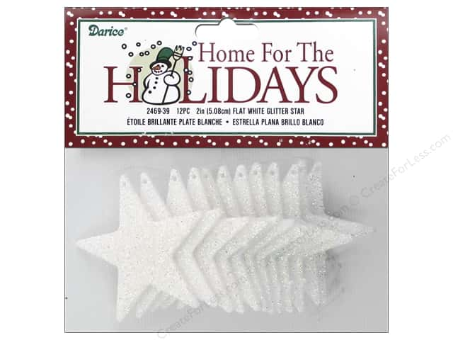Darice Ornament 2 in. Flat Star 12 pc. Glitter White