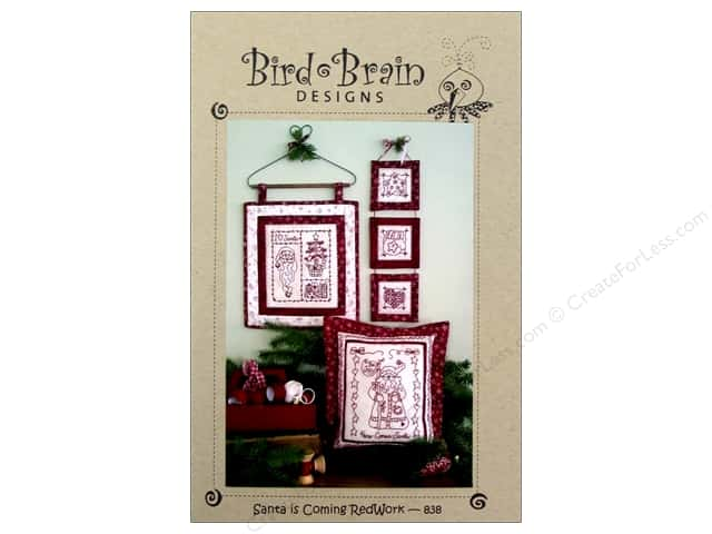 Bird Brain Designs Santa Is Coming Redwork Pattern