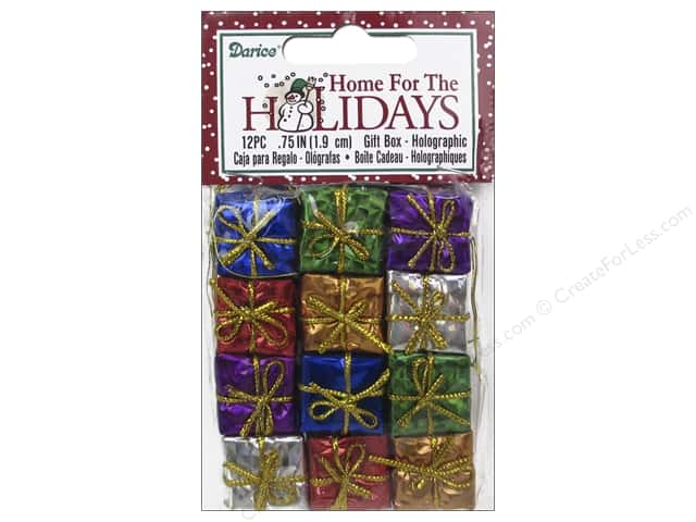 Darice Holiday Gift Boxes 3/4 in. Assorted Holographic 12 pc.