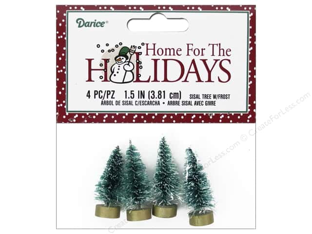 Darice Sisal Tree 1 1/2 in. Green with Frost 4 pc.