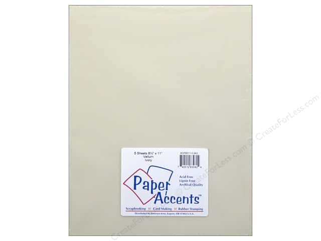 Vellum 8 1/2 x 11 in. #943 Ivory by Paper Accents 5 pc.