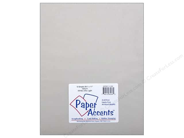 Paper Accents Vellum 8 1/2 x 11 in. #959 Ultra Light Weight White 5 pc.