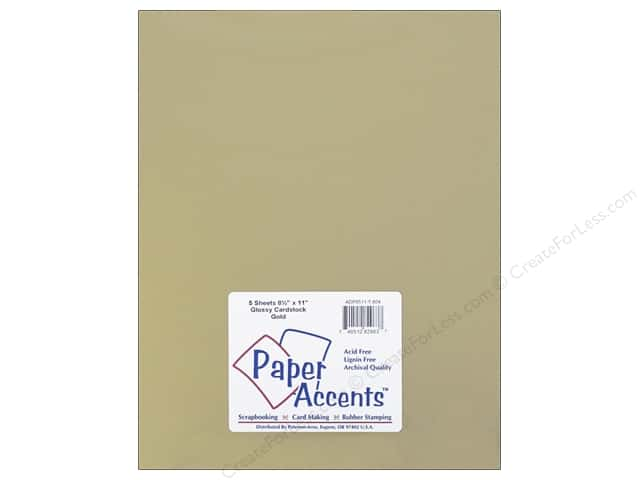 Cardstock 8 1/2 x 11 in. Glossy Gold by Paper Accents 5 pc.