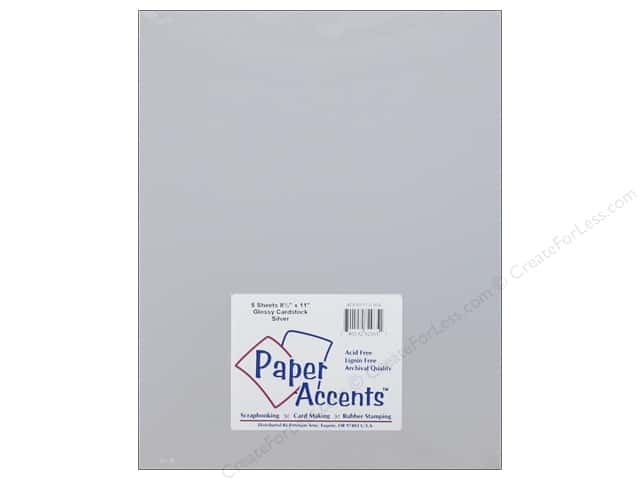 Cardstock 8 1/2 x 11 in. Glossy Silver by Paper Accents 5 pc.