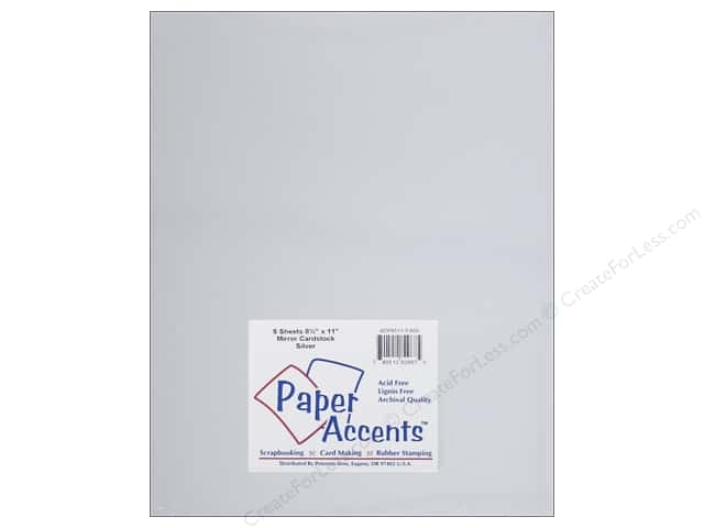 Cardstock 8 1/2 x 11 in. Mirror Silver by Paper Accents 5 pc.