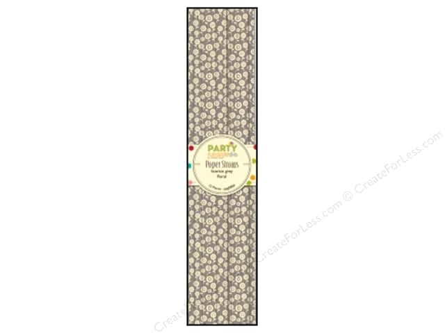 Hampton Art Party Playground Paper Straw Floral Licorice Grey