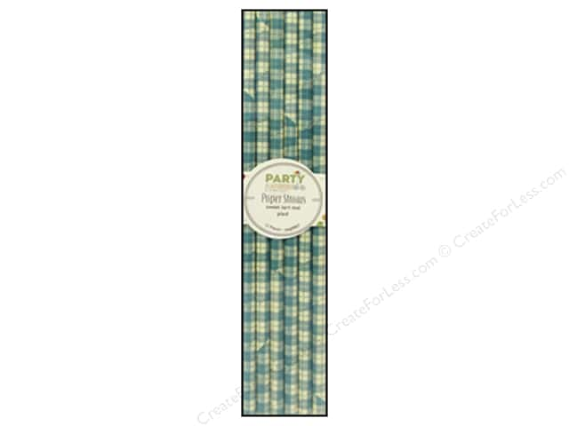 Hampton Art Party Playground Paper Straw Plaid Sweet Tart Teal