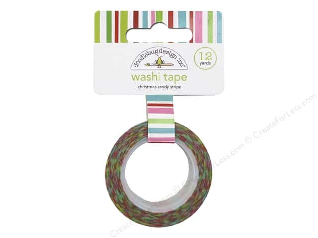 Doodlebug Washi Tape 5/8 in. x 12 yd. Christmas Candy Stripes