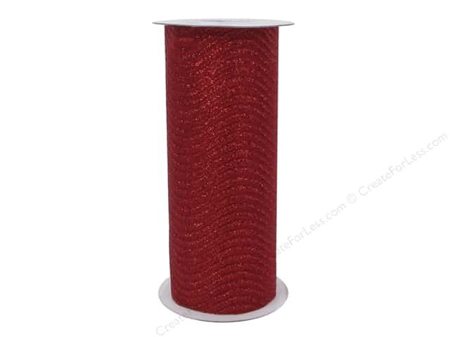 Darice Glitter Wave Ribbon 6 in. x 8 yd. Red
