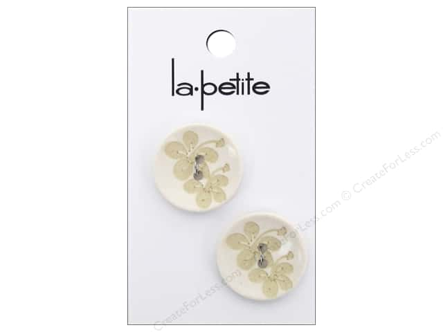 LaPetite 2 Hole Buttons 7/8 inch Off White #2089 2 pc.
