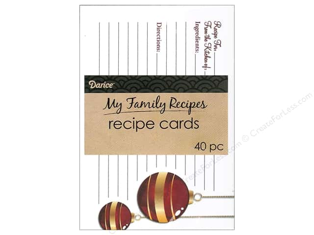 Darice Recipe Card Holiday Elegant 40pc
