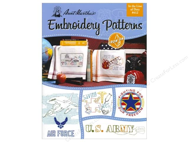Aunt Martha's Embroidery Transfer In The Line Of Duty Book