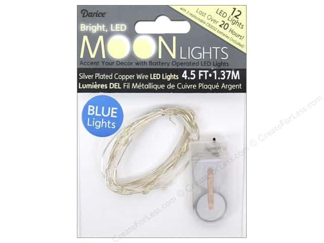 Darice Light Moon LED 4.5ft Silver Wire 12 Blue