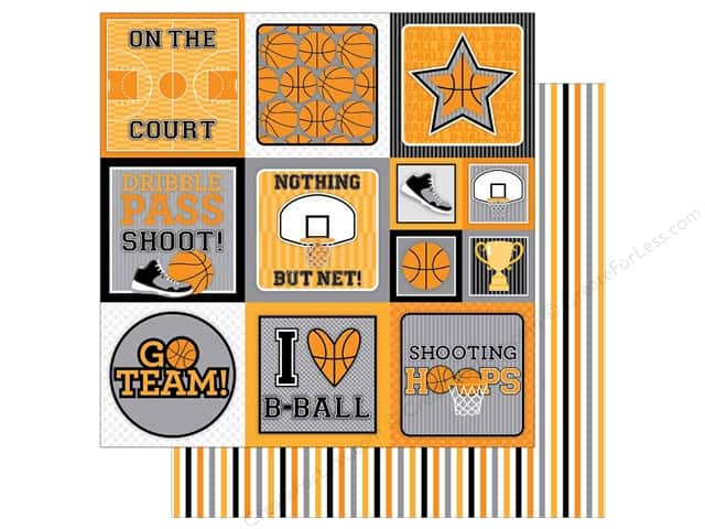 Doodlebug 12 x 12 in. Paper Slam Dunk Game Stripes (25 sheets)