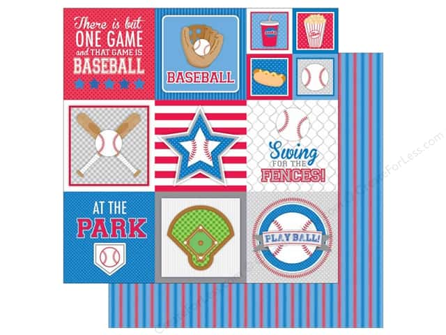 Doodlebug 12 x 12 in. Paper Home Run Jersey Stripe (25 sheets)