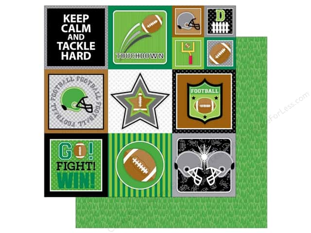 Doodlebug 12 x 12 in. Paper Touchdown Football Field (25 sheets)