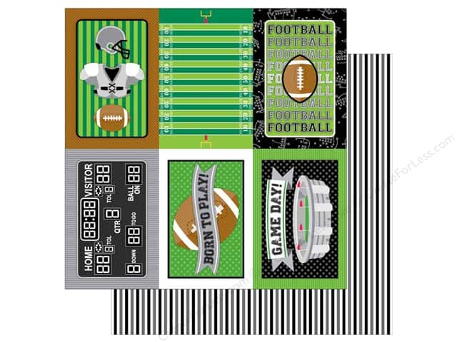 Doodlebug 12 x 12 in. Paper Touchdown Sidelines (25 sheets)