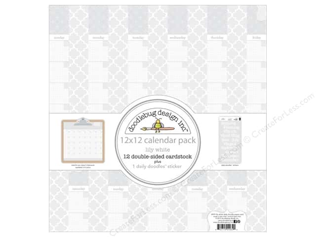 Doodlebug 12 x 12 in. Paper Pack Daily Doodles Lily White