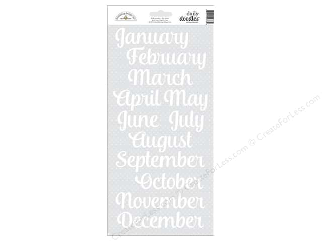 Doodlebug Sticker Daily Doodles Months Lily White (12 sheets)