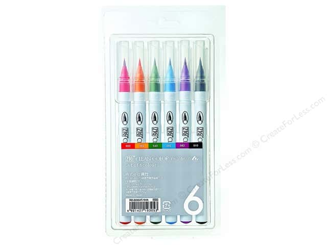 Zig Clean Color Real Brush Marker Set 6pc