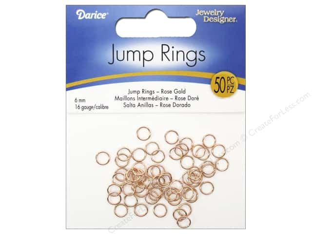 Darice Jewelry Designer Jump Rings 1/4 in. Rose Gold 50 pc.