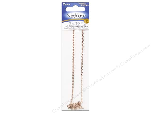 "Darice Jewelry Designer Necklace Chain 18"" Cable 1mm Rose Gold 1pc"