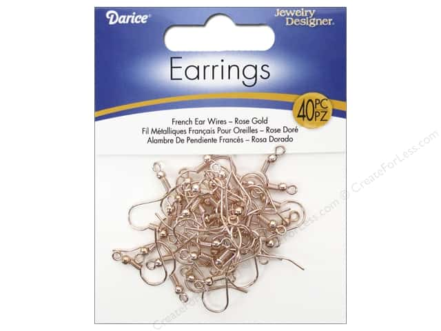 Darice Jewelry Designer Earring French Earwire Rose Gold 40pc