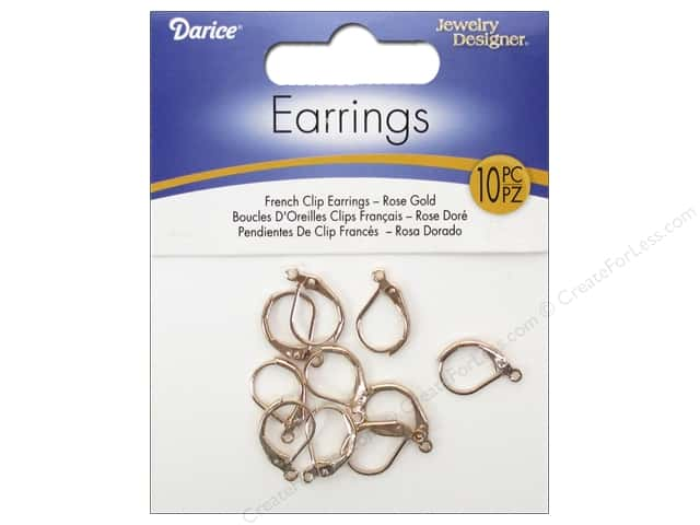 Darice Jewelry Designer Earring French Clip Rose Gold 10pc