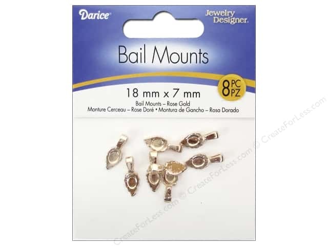 Darice Jewelry Designer Bail Mount 18x7mm Rose Gold 8pc