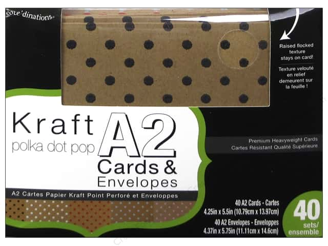 Coredinations A2 Cards & Envelopes 40 pc. Kraft Polka Dot Pop