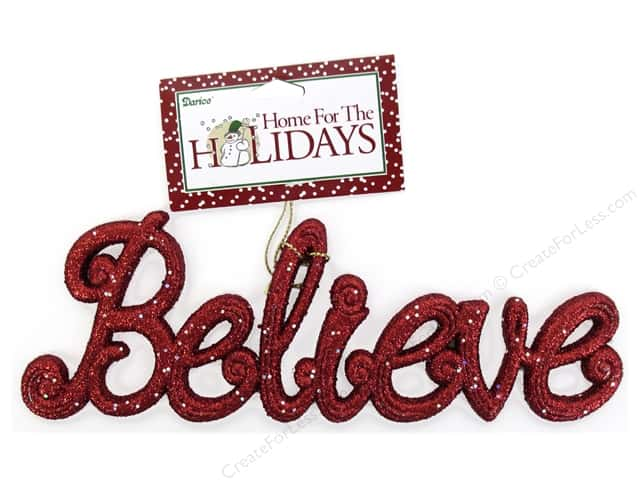 Darice Ornament 7 1/2 in. Believe 1 pc. Glitter Red